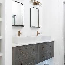 Restoration Hardware Mirrored Bath Accessories by White Dual Bath Vanity With Shiny Gold Hardware And Mirror And