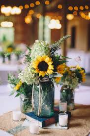 Centerpieces With Burlap Square Aqua Mason Jars And Books