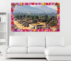 3d wandtattoo teotihuacan ruinenstadt mexiko amerika blumen rahmen wandbild wohnzimmer wand aufkleber 11l1397 3dwandtattoo24 de