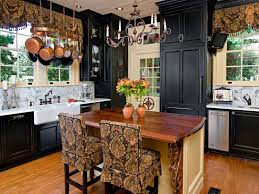 Traditional Kitchen With Black Cabinets