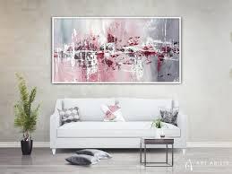 abstrakte rosa grau übergroße wandkunst große etsy