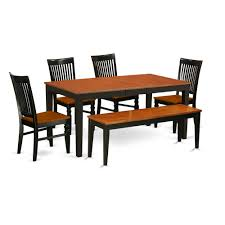 East West Furniture NIWE6-BCH-W 6 Pc Kitchen Table Set With A Dining Table  And 4 Wood Seat Dining Chairs Plus One Bench In Black And Cherry - Wood ... Kitchen Ding Room Fniture Scdinavian Designs Cape Cod Lawrence Dark Cherry Extension Table W6 Tom Seely Solid W 6 Chairs Sets And Chair Dock86 Universal Upscale Consignment 26 Big Small With Bench Seating 2019 Gently Used Ethan Allen Up To 50 Off At Chairish East West Nido6bchw Pc Ding Room Set Bkitchen Tables 4 Plus Bench In Black Cherryfinishblack And Cm88 Roccommunity Steve Silver Tournament Arm Casters Set Of 2 Oval American Drew Cherry 7 Pieces Used Leaf Finish Glass Top Modern Woptional Items