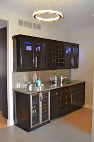 Round Ceiling Lighting Design Combined With Black Wood Wet Bar Cabinets Sink Plus Flooring