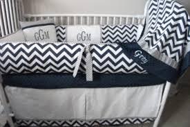Navy Blue Gray and White Chevron Boy Baby bedding Crib set