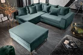 eck sofa petrol samt 220cm mit hocker dunord design