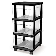 Plastic Drawers On Wheels by Shop Style Selections 14 5 In X 26 In 3 Drawer Black Clear Plastic