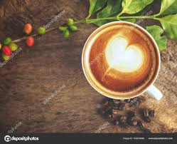 Cup Latte Art Coffee Wooden Background Stock Photo
