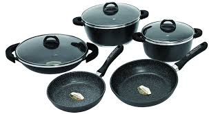 batterie cuisine en schumann professionnel sba2201400 black rock lot de 14 pièces