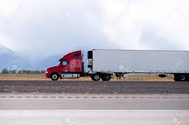 100 Semi Truck Pictures Side View Of Bright Red Big Rig Fleet Transporting