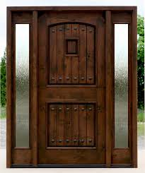 Rustic Style Exterior Door With Indian Glass Sidelights Design