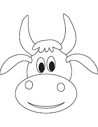 Cute Cow Face Coloring Page
