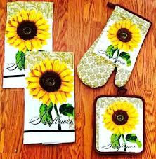 Sunflower Decor For Kitchen A Set Of Towels And Mitts Is Amazing Bright Kitchens
