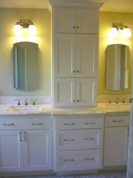 Bathroom Vanity With Drawers On Left Side by Bath Vanity With Tower Storage On Either Side Of The Sink For