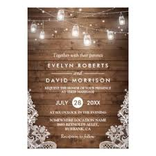 Rustic Wood Mason Jars String Lights Lace Wedding