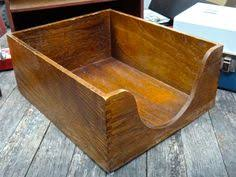 Vintage Rustic File Box Dovetailed Wood Box Desk Organizer
