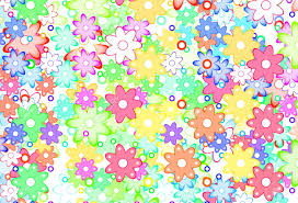 Cute Cartoon Art Flowers Simple Color Background Stock Photo
