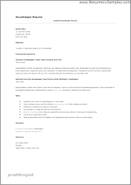 Housekeeper Resume Sample Housekeeping Awesome Manager