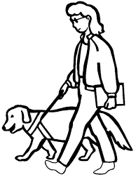 Dog Helping People With Disability Coloring Page