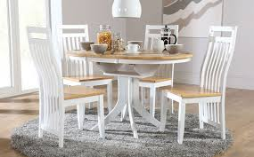 Hudson White Two Tone Round Extending Dining Room Table And 4 In Tables Chairs Sets