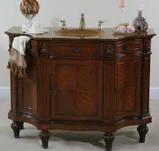 elegant curved lines cherry burl bathroom vanity unit with golden