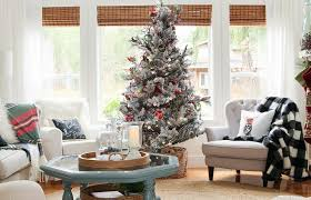 Surprising Christmas Living Room Decor Silver Tree Decoration Blue Frame Heptagon Shape Glass Table Fold