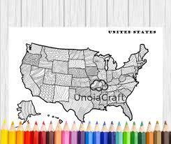 USA Map Coloring Page Usa Wall Art Adult