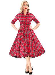 GBP6700 Way Out West Royal Stewart Tartan 50s Style Swing Dress