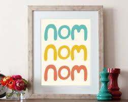 Typographic Print Hand Lettering Kitchen Art Nom Quote