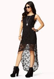 forever 21 lace high low dress in black lyst