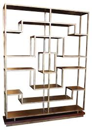 gold metal bookcase aimee gold glass etagere crosley furniture