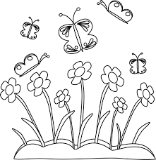 Black and White Spring Flowers and Butterflies
