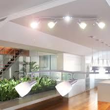 decke le strahler leuchte spotsystem licht wohnzimmer glas weiß globo 57900 4