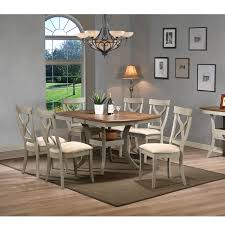 Balmoral Shabby Chic Country Cottage Antique Oak Wood And Distressed Light Grey 7 Piece Dining