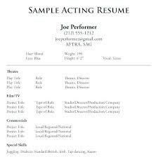 Actors Resume Template Word Example Of Actor Examples Sample Acting