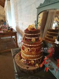 Autumnal Wedding Cake Naked With Fruits For Autumn At East Riddlesden Hall By