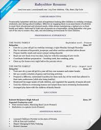 Resume Babysitter How Create A First Job Professional Achievement