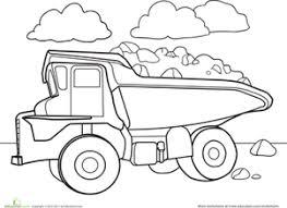 Kindergarten Coloring Worksheets Color A Car Dump Truck