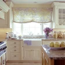 KitchenPeaceful British Country Kitchen With Rustic Breakfast Nook Retro Floral Drapes