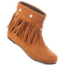 karyn women ankle boots moccasin high top shoes fringe canvas
