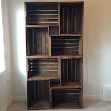 DIY Crate Bookshelf Wood Crates Sandpaper Stain L Bracket Simple Ledge Shelf