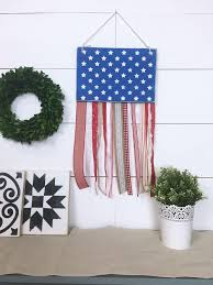American Flag Ribbon Wood Sign Hanger Rustic Home Decor Fourth