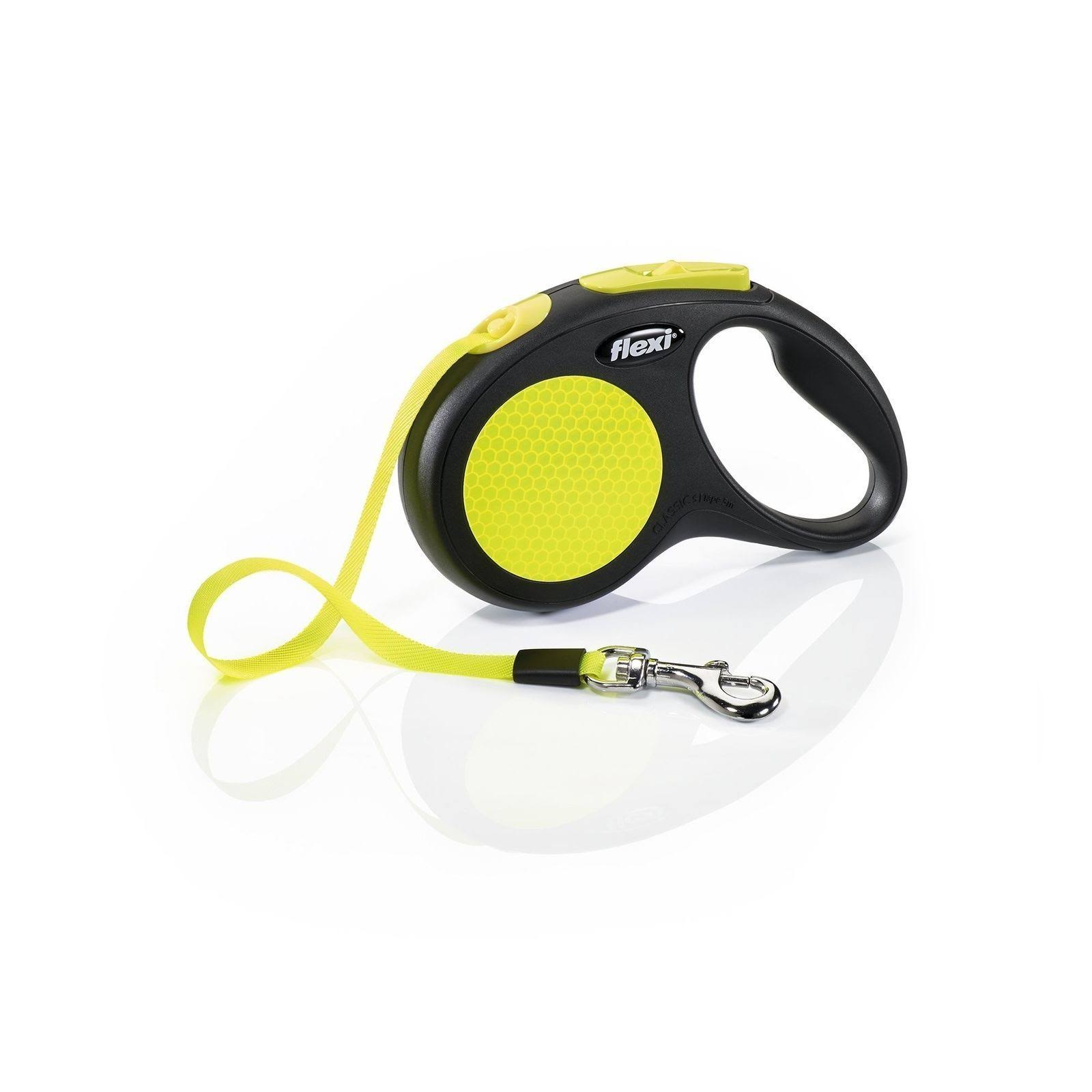 Flexi New Neon Reflective Retractable 16' Tape Leash, Small