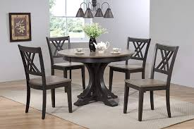 Iconic Furniture 5 Piece Deco Double X-Back Dining Set, Antique Grey Black  Stone, 45