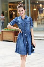 Summer Style Women Jeans Dress 4Xl Elastic Waisted Button Denim Dresses Half Sleeve Pockets Cowboy