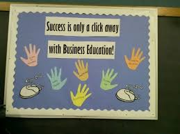 Business Education Bulletin Board Class Names Are Written On The Hands