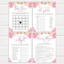 7 Pink Blush Floral Baby Shower Games Bundle