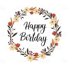Happy Birthday Hand Lettering Greeting Card Vector Calligraphy