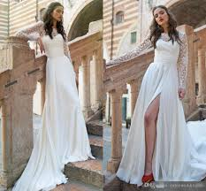 discount long sleeve lace top a line beach wedding dresses 2017
