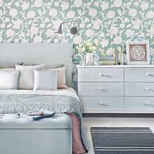 Duck Egg Bedroom Ideas Floral Wallpaper