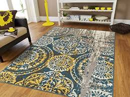 Amazon Modern Area Rugs For Living Room 8x10 Blue Yellow Gray